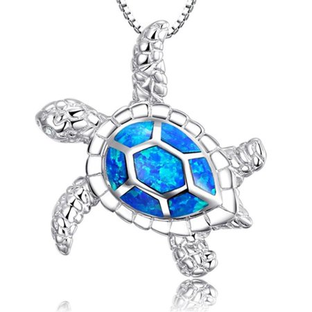ON SALE - Deep Blue Sea Turtle Enamel Pendant Necklace Blue