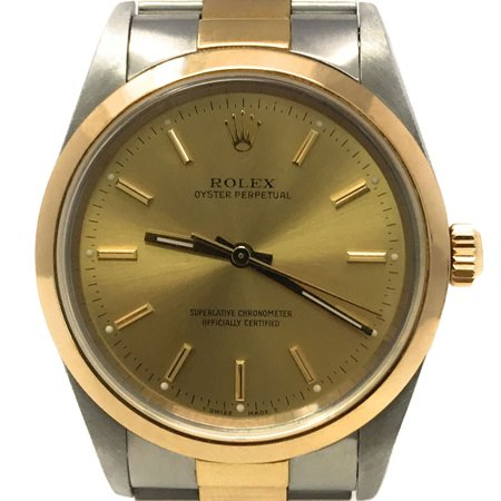 Best Rolex Oyster Perpetual 14203 Blue Stick dial and an 18kt Yellow Gold Smooth Bezel (Certified Pre-Owned) deal