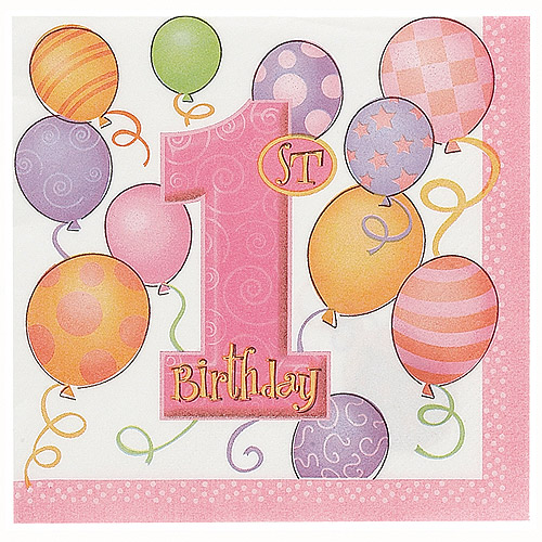 Pink Balloons 1st Birthday Party Lunch Napkins, 16ct