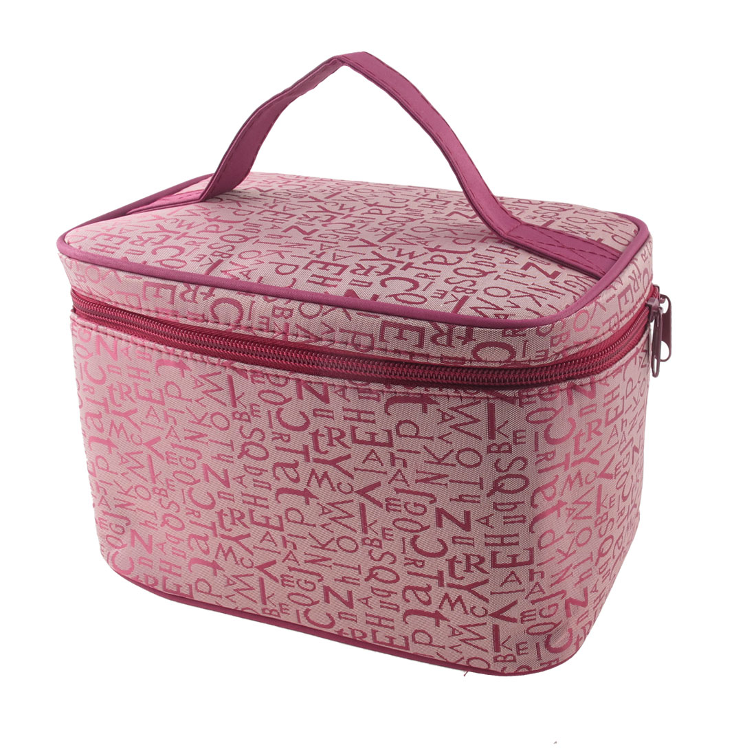 Zipper Closure Potable Letters Pattern Cosmetic Makeup Bag Case w Mirror Dark Pink