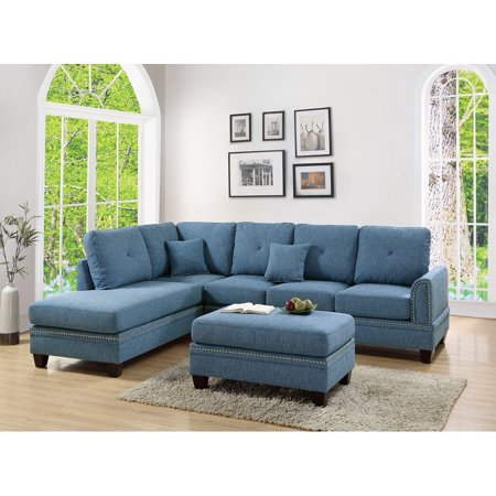 2-pcs Sectional Sofa Blue Modern Sectional Reversible Chaise Sofa Pillows  Cotton Blended Fabric Couch Living Room Furniture