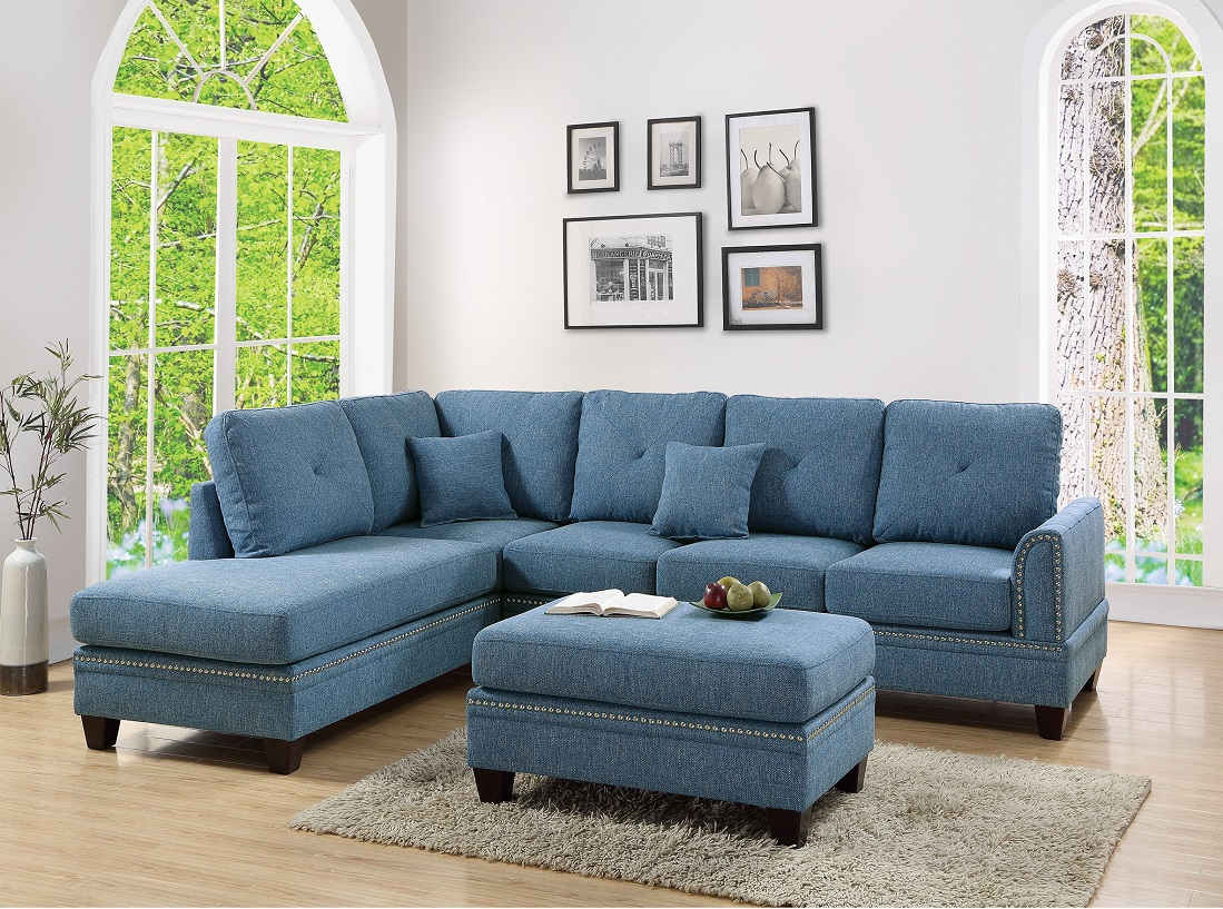 2 Pcs Sectional Sofa Blue Modern Sectional Reversible Chaise Sofa Pillows  Cotton Blended Fabric Couch