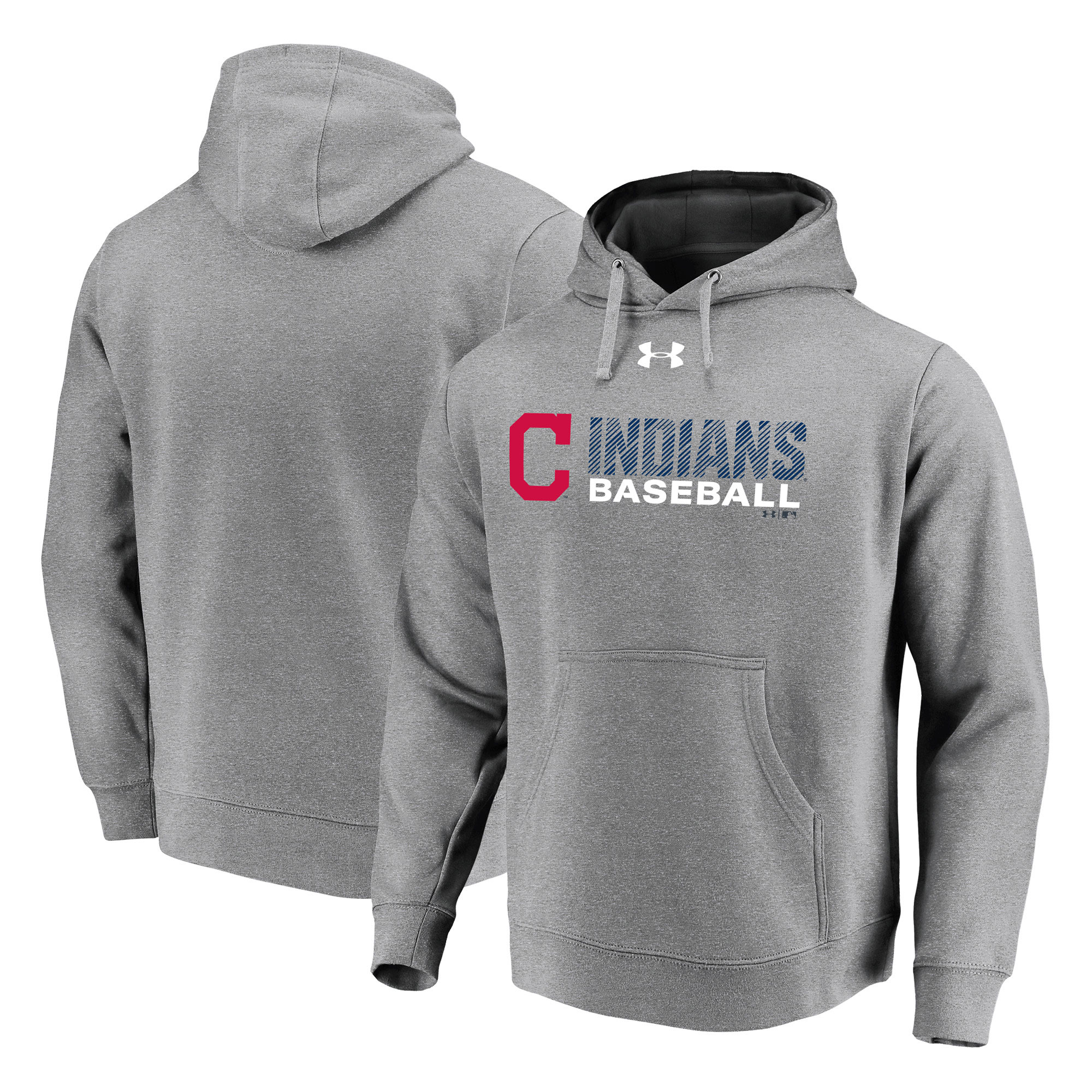 Cleveland Indians Under Armour Commitment Stack Pullover Hoodie - Heathered Gray