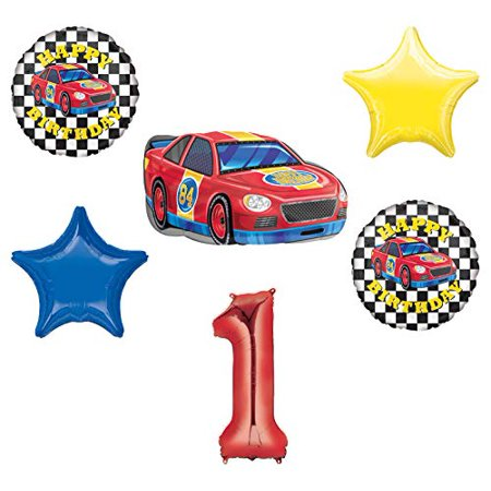 Race Car Theme 1st Birthday Party Supplies Stock Car Balloon Bouquet Decorations](Car Theme Decorations)