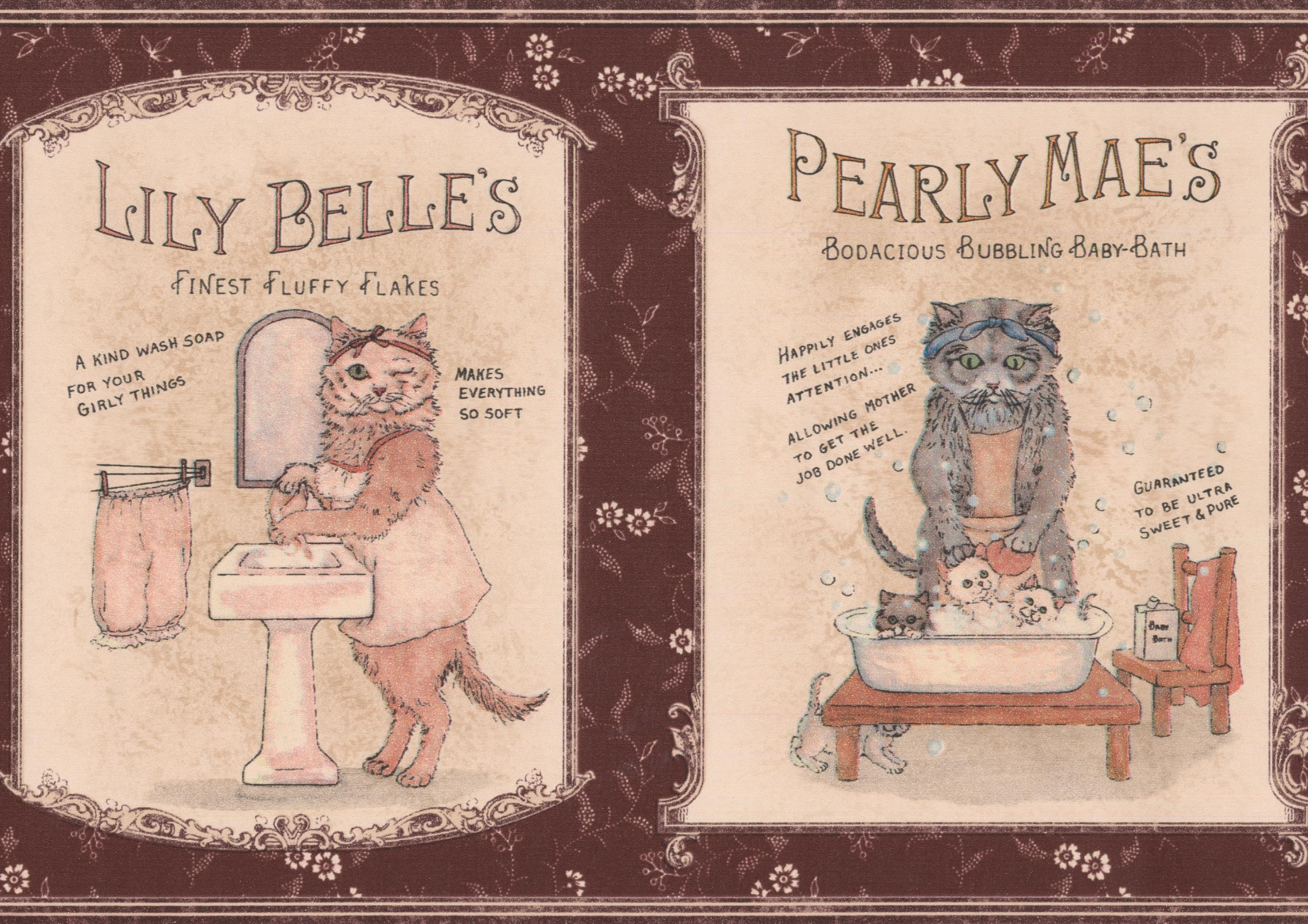 Vintage Bath Iron Soap Ads With Kitten Maroon Wallpaper Border For Kitchen Bathroom Roll 15 X 7