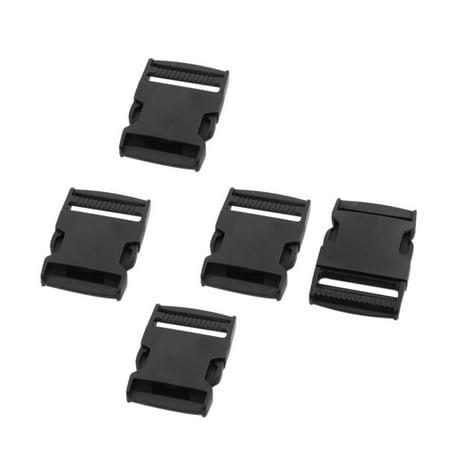 Belt Strap Plastic Flat Side Release Buckle Black 1.5 Inches Inside Width 5 (Five Buckle)