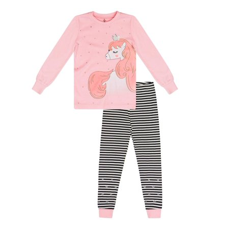 Girls' Unicorn 2 Piece Pajama Sleep Set (Little Girl & Big Girl) (Pink Unicorn Footed Pajamas)