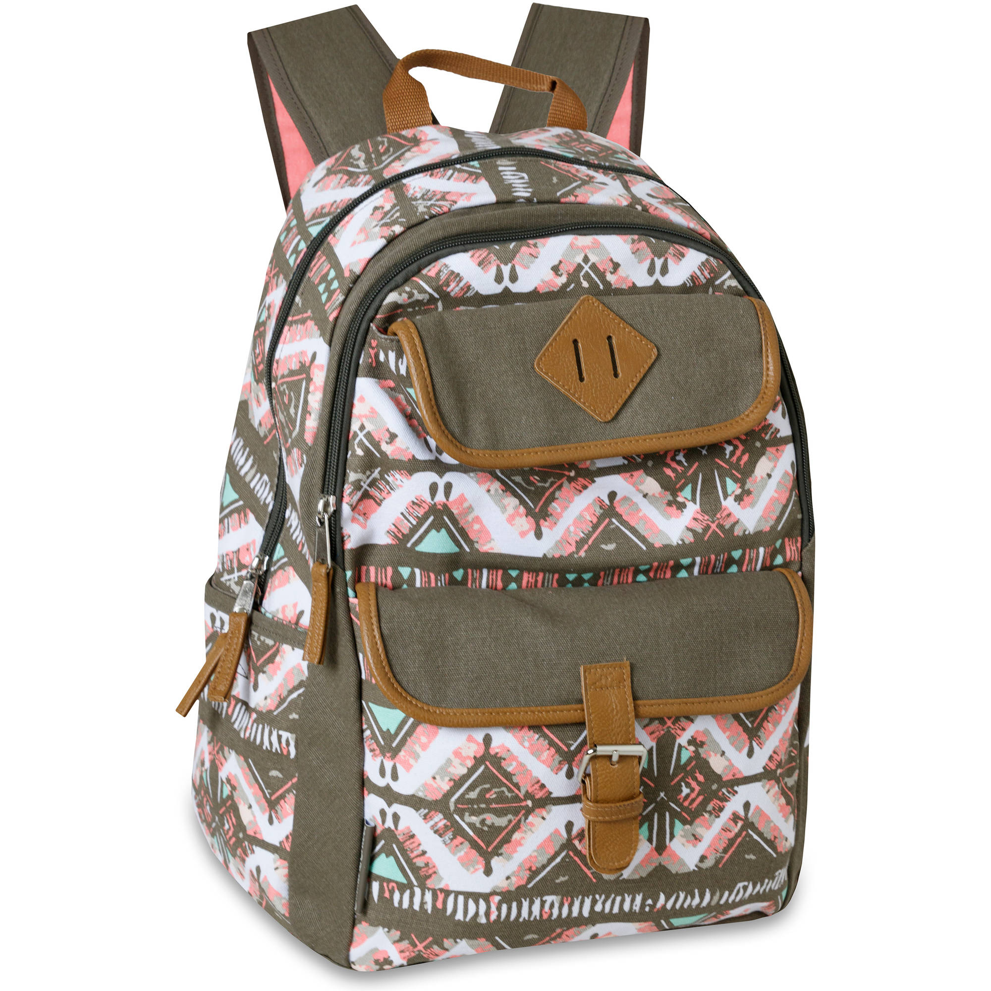 18.5 Inch Deluxe Cotton Canvas Backpack with Vinyl Trim