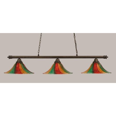 Toltec Lighting-373-BRZ-767-Oxford - Three Light Billiard  Bronze