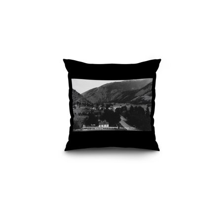 Empire, Colorado - View of the Town at the Eastern Entrance to Berthoud Pass (16x16 Spun Polyester Pillow, Black -