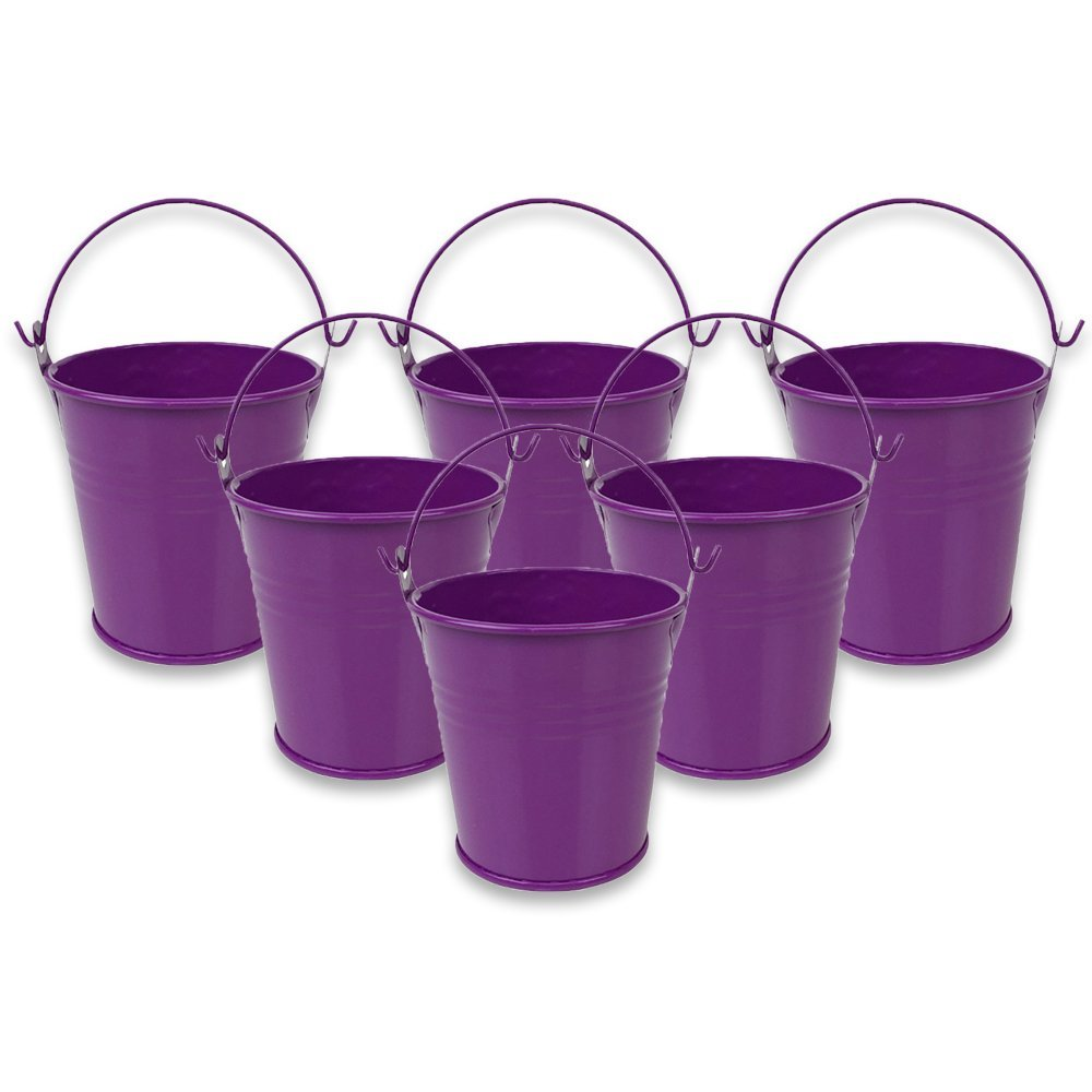 "Just Artifacts Mini 3""H Metal Crayon/Pencil Holder Favor Bucket Pail (6pcs, Plum) - Metal Favor Buckets and Craft Supply Holders for School, Birthday Parties and Events!"
