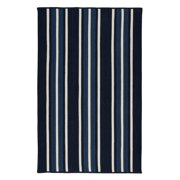 3' x 5' Black and Blue Striped Rectangular Area Throw Rug