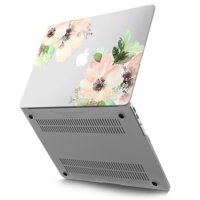 """Kuzy - Rubberized Plastic Case for MacBook Air 13"""" (A1466 / A1369) Matte Hard Cover 13.3 inch Frosted-Clear - Flowers"""