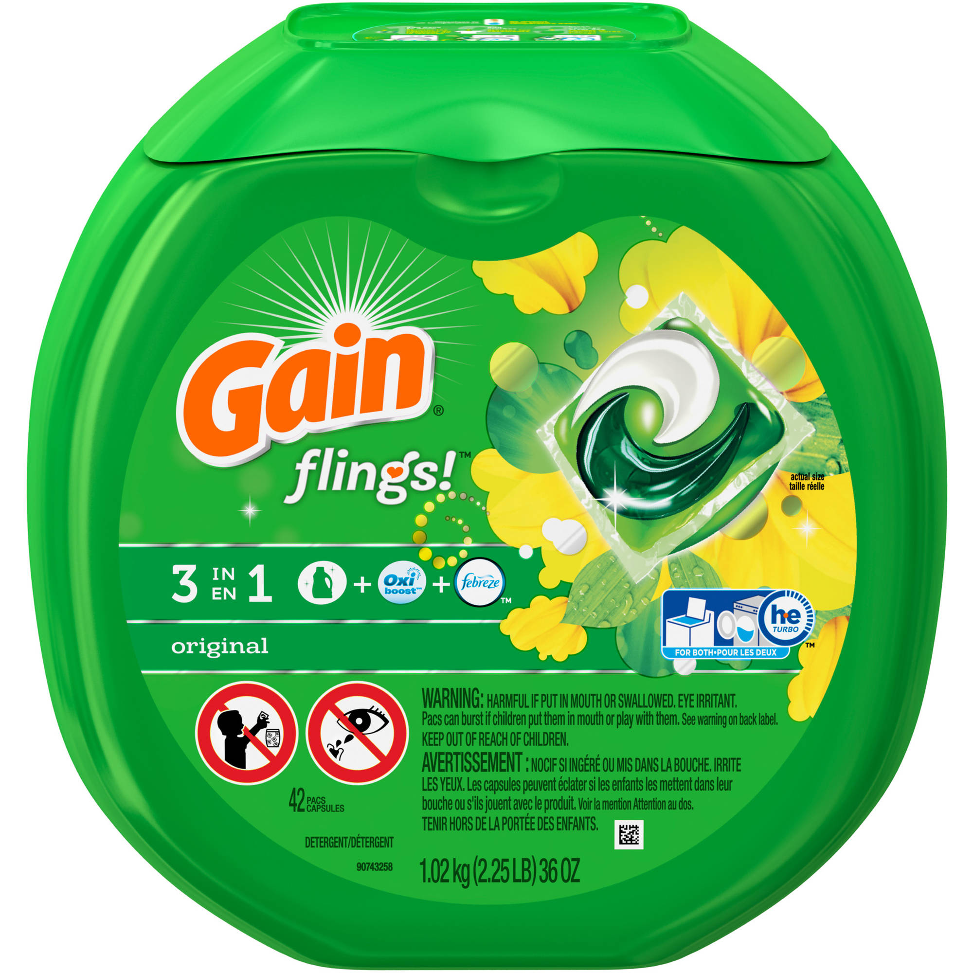 Gain flings! Laundry Detergent Pacs, Original, 42 count