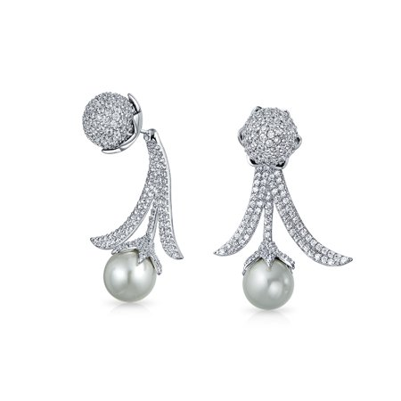 Bling Jewelry Rhodium Plated Cubic Zirconia Simulated Pearl Earring Jackets