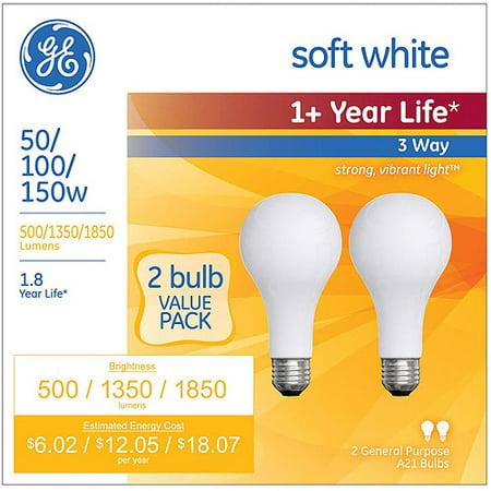 ge soft white incandescent 3 way 50 100 150 watt a21 2 pack. Black Bedroom Furniture Sets. Home Design Ideas