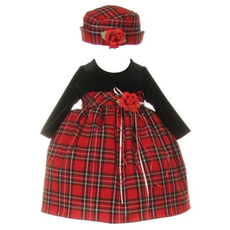 Baby Girls Black Red Velvet Checker Corsage Hat Christmas Dress 18M