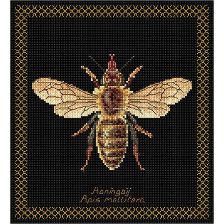 Honey Bee On Aida Counted Cross Stitch Kit, 8