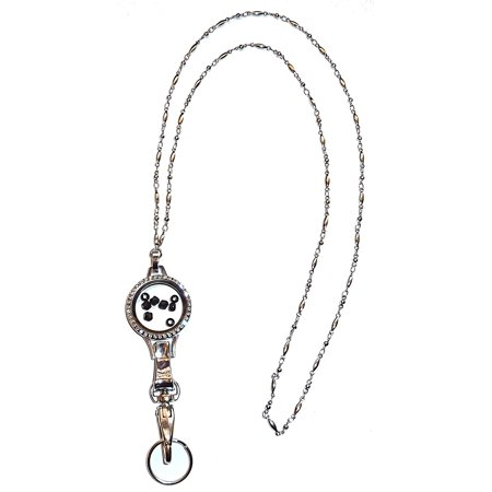 Hidden Hollow Beads Black 30mm Floating Locket Women's Chain Fashion Lanyard Necklace, Jewelry ID Badge and Key Holder, 34 in.