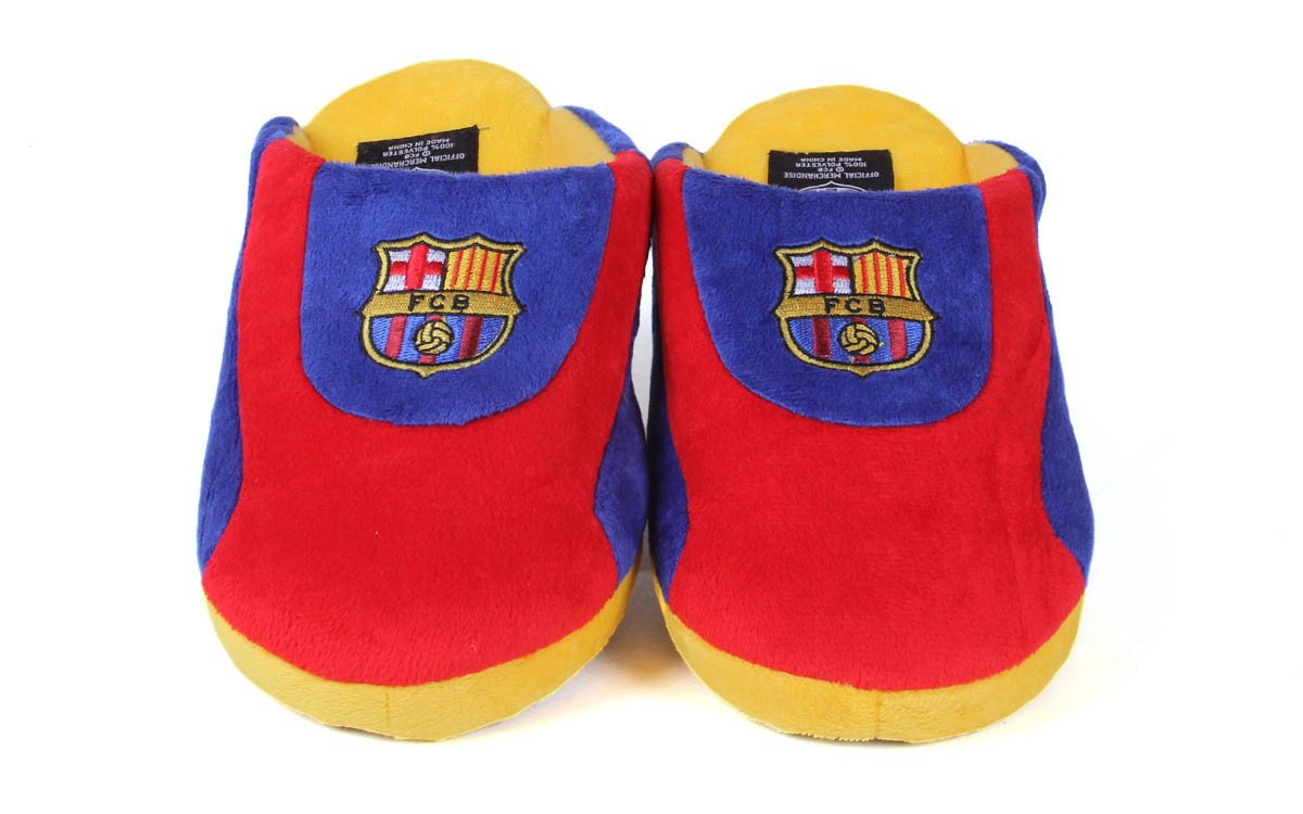 Happy Feet Mens and Womens FC Barcelona All Around Slippers