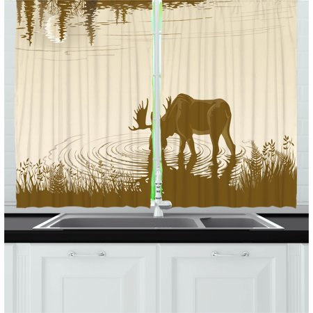 Animal Curtains 2 Panels Set, Silhouette of Elk Drinking Water in Lake River Forest Wildlife Scenery Illustration, Window Drapes for Living Room Bedroom, 55W X 39L Inches, Cream Sepia, by Ambesonne (Two Step Drinking Water Treatment)