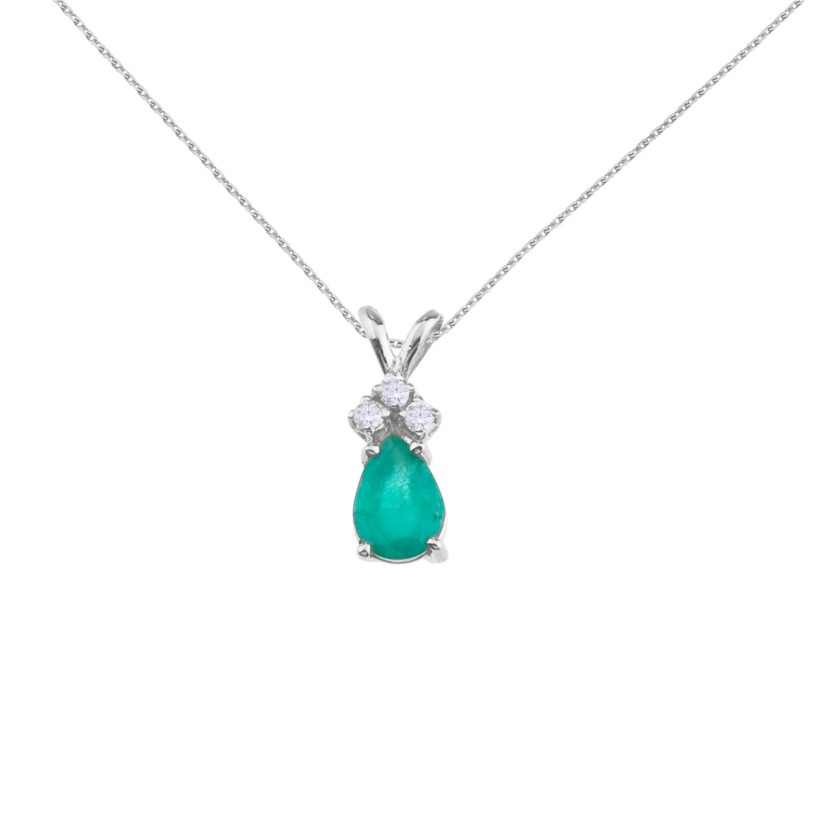 Direct 14K White Gold Pear Shaped Emerald and .05 ct Diam...
