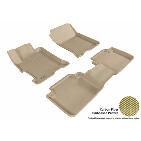 3D MAXpider 2013-2017 Honda Accord Sedan Front & Second Row Set All Weather Floor Liners in Tan with Carbon Fiber Look