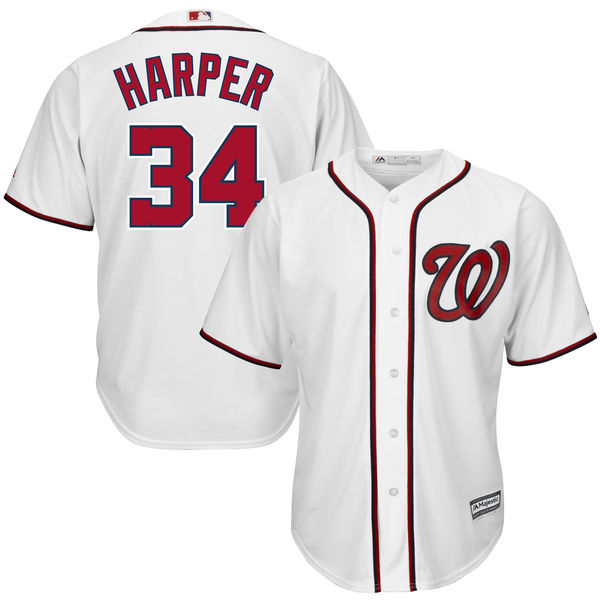 Men's Washington Nationals Bryce Harper #34 White Home Big & Tall Cool Base Player Jersey by