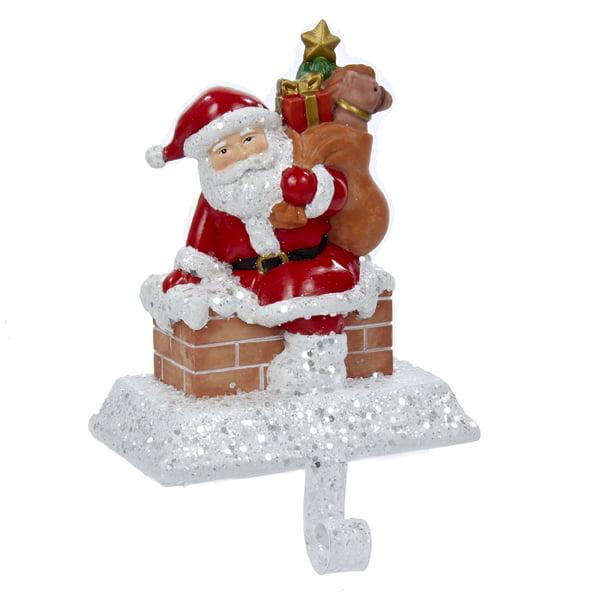"6.5"" Santa Claus with Gift Bag Decorative Christmas Stocking Holder"