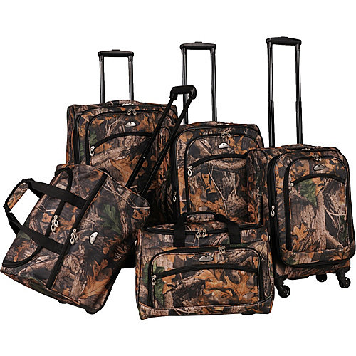 American Flyer Camo Green 5 Piece Luggage Set