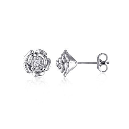 Diamond-Accent Sterling Silver Floral Stud Earrings