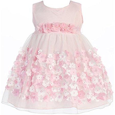321d4915223 BNY Corner - Baby   Infant Flower Girl Dress Tulle Overlay Satin Dress Pink  XS KD333 - Walmart.com