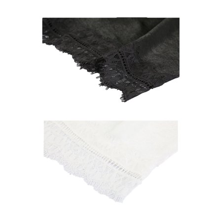 Women Lace Trim Silky Safety Pants Legging 2 pcs White+Black-Folded Trim 2XL - image 4 of 5
