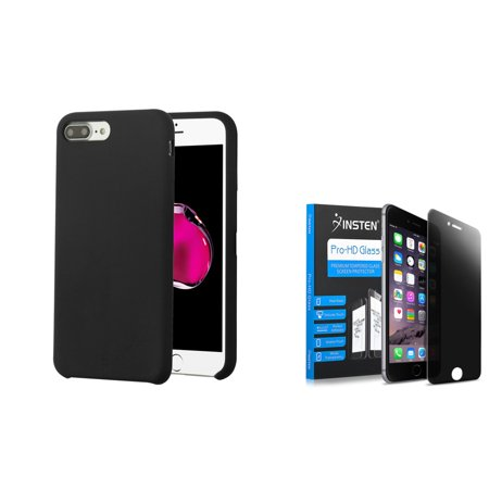 Apple iPhone 7 Plus/8 Plus Executive Protector Hard Plastic Silicone Rubber Cover Case by Insten - Black + Privacy Tempered Glass Screen Protector - image 3 of 3