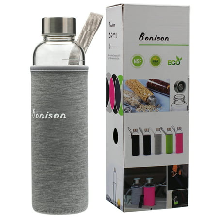 18.5 Oz Borosilicate Glass Water Bottle with Assorted Colorful Nylon Sleeve, Extra Thick Base, BPA Free, Crystal Clear, Trendy Design ()