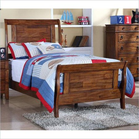 elements tucson youth bed in light brown lacquer full