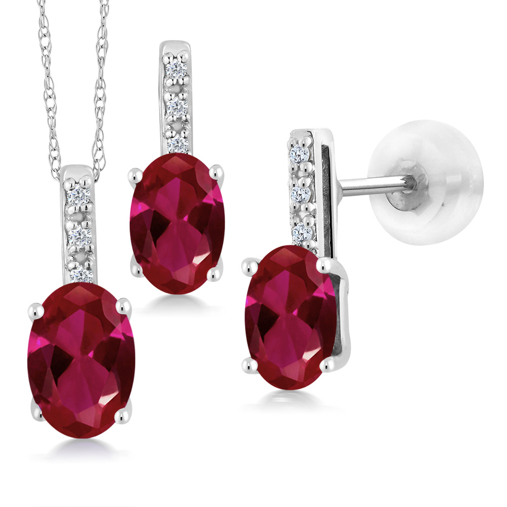 1.97 Ct Oval Red Created Ruby and Diamond White Gold Pendant Earrings Set by