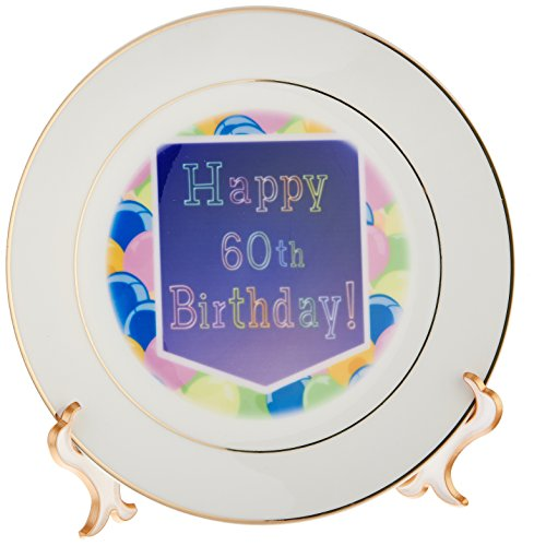 3dRose Balloons with Purple Banner Happy 60th Birthday, Porcelain Plate, 8-inch