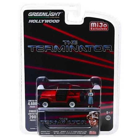 Terminator 1983 Jeep CJ-7 Renegade with Sarah Connor Figure Greenlight Hollywood Exclusive 1:64 (1983 Jeep Cj7)