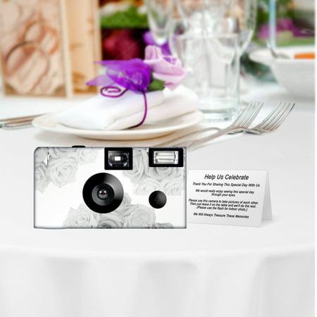 Silver Roses Wedding Memories Disposable Camera, 5 pack Wedding Disposable Cameras, free shipping.  Wedding Cameras, Event Cameras, from CustomCameraCollection WM-68002-C (Wedding Disposable Cameras)