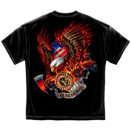 Firefighter T-Shirt Patriotic Fire Eagle American Made Firefighter Small