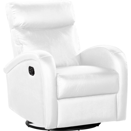 Shermag Deluxe Bonded Leather Motion Chair With Push Button Recline, White