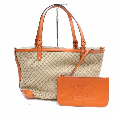 - Diamante Monogram Shopper Tote with Pouch 868909 Orange Canvas Shoulder Bag