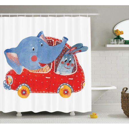 Cartoon Decor Shower Curtain Set, Watercolor Sketch Of Young Blushed Elephant And Hare In Small Car Best Friend Travel, Bathroom Accessories, 69W X 70L Inches, By