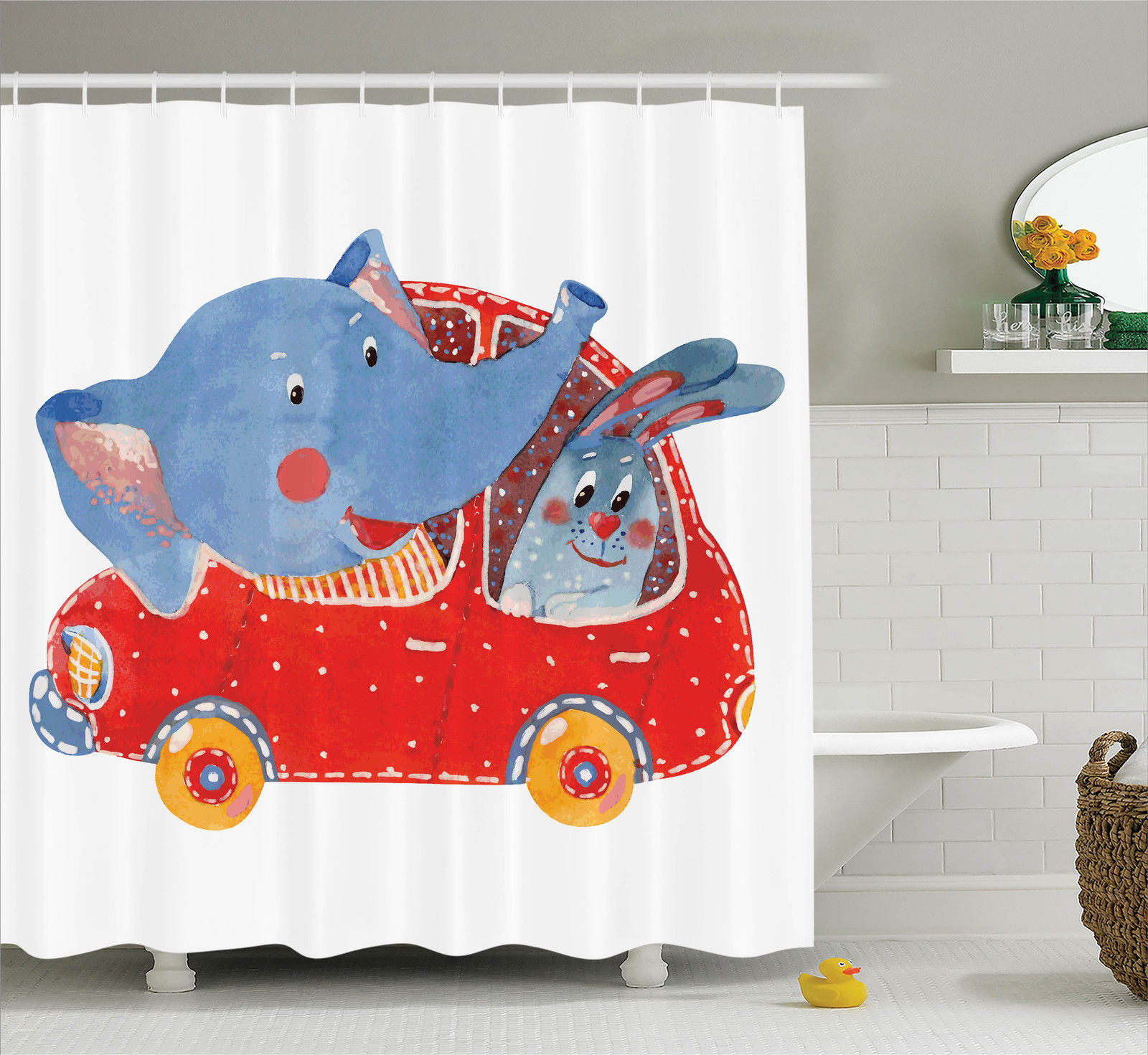 Cartoon Decor Shower Curtain Set, Watercolor Sketch Of Young Blushed Elephant And Hare In Small Car Best Friend Travel, Bathroom Accessories, 69W X 70L Inches, By Ambesonne