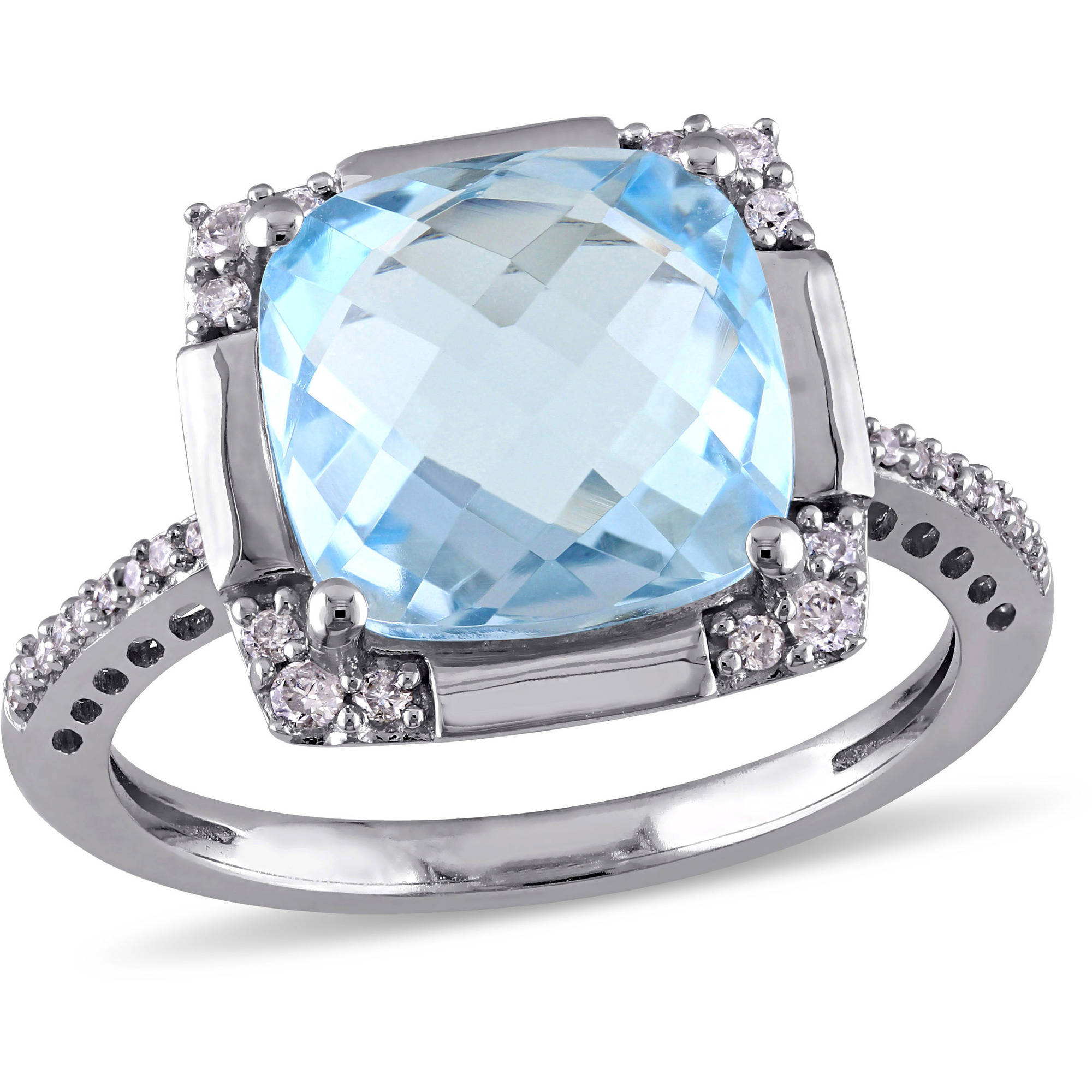 Tangelo 6 Carat T.G.W. Cushion-Cut Sky Blue Topaz and 1 6 Carat T.W. Diamond 10kt White Gold Cocktail Ring by Tangelo