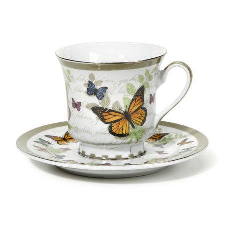August Grove Cheatom Butterfly Pattern 12 Piece Tea Cup and Saucer Set (Set of 6) (Set of - Tea Cup Sets Cheap