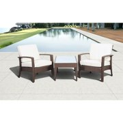 International Home Atlantic 3 Piece Outdoor Sofa Set in Brown