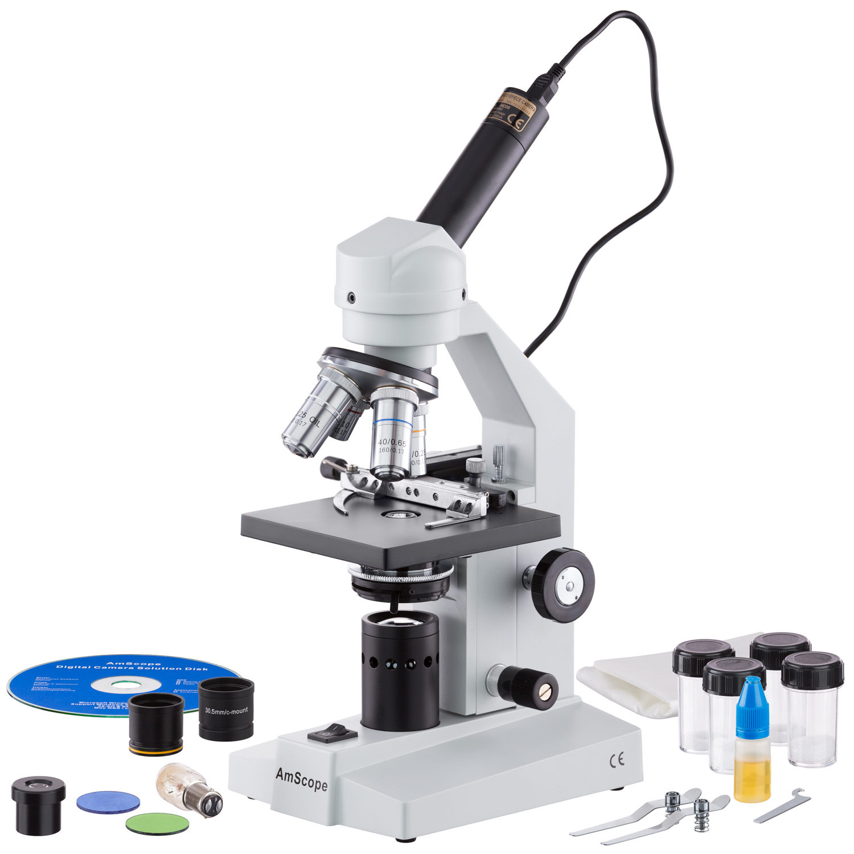 AmScope 40X-2500X Veterinary Compound Microscope w Mechanical Stage & USB Digital Camera New