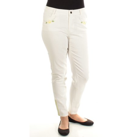 CYNTHIA ROWLEY Womens White Embroidered Skinny Jeans  Size: 12